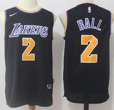 e1d05be55 Nike Lakers  2 Lonzo Ball Black Stitched NBA Swingman Jersey