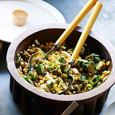 Grilled Corn Poblano Salad with Chipotle Vinaigrette (Sunset's 25 Best-Ever) 3 ears corn, grilled 1 poblano chile, grilled 3 T oil, divided 1 T lime juice 1 t finely chopped canned chipotle chile 1/2 t kosher salt 1 avocado, diced 1/4 c cilantro leaves 1/2 c slivered onion
