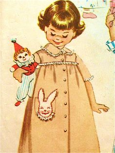 Vintage 1950s McCalls 2303 printed pattern for childs robe with transfer of bunny and flower.