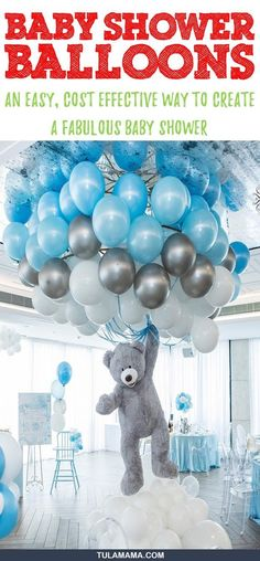 Baby shower balloons are amazing decorations for a girl, boy, and neutral showers. They can be used as a backdrop or centerpieces too. Click the link for tons of great balloon decoration ideas. Also find helpful tips and DIY videos on how to make an arch, a garland, and balloon columns. Pin it. #babyshowerballoons #babyshower #babyshowerdecorations