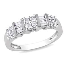 Miadora Signature Collection 10k White Gold 1/2ct TDW Diamond Anniversary Ring | Overstock.com Shopping - The Best Deals on Women's Wedding Bands