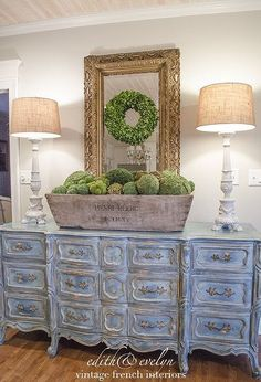 Cathy feature 2 - Blue Dresser Charming French Country Design and Decor Ideas for 2018 French Country Bedrooms, French Country Cottage, French Country Style, French Farmhouse, French Country Dining Room, Farmhouse Style, Rustic French, French Chic, French Dining Rooms