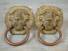 Pair Antique French bronze and copper LION HEAD by Chanteduc, $75.00