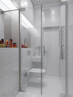 Sparkling White Apartment with Hideaway Home Offices - Small Shower Room, Small Bathroom Layout, Small Showers, Downstairs Bathroom, Shower Rooms, Bad Inspiration, Bathroom Inspiration, White Apartment, Small Room Design