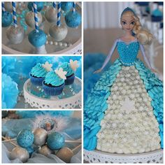 Frozen theme birthdayparty! Cakepops, cupcakes and of course Elsa-cake!