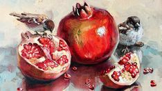 Pomegranate Art, Fruit Photography, Fruit Painting, Still Life Art, Fruit Art, Small Art, Painting Lessons, Pictures To Paint, Acrylic Art