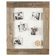 Pallet Pictures, Barn Wood Picture Frames, Picture Frame Crafts, Picture On Wood, Picture Walls, Pallet Picture Display, Wood Pictures, Baby Picture Frames, Picture Wire