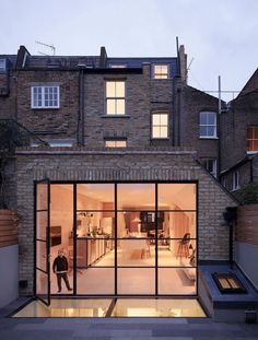 contemporary london flat roof extension with crittall windows House Extension Design, Glass Extension, Extension Designs, Roof Extension, House Design, Extension Ideas, Kitchen Extension Roof Windows, Crittall Extension, Terraced House