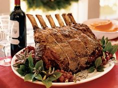 "Salt-and-Pepper-Crusted Prime Rib with Sage Jus ""The great thing about doing a whole rib roast is that you don't have to concentrate,"" Michael Mina says. ""Season it right with salt and p… Christmas Roast, Christmas Dinner Menu, Christmas Dinners, Christmas Entertaining, Christmas Wine, Beef Rib Roast, Prime Rib Roast, Rib Recipes, Cooking Recipes"