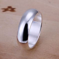 925 jewelry silver plated  Ring Fine Fashion Smooth Round Silver Jewelry Ring Women&Men Gift Finger Rings SMTR025 #Affiliate
