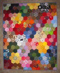 Modern Grandmas Flower Garden Quilt from by carolinasquirrell