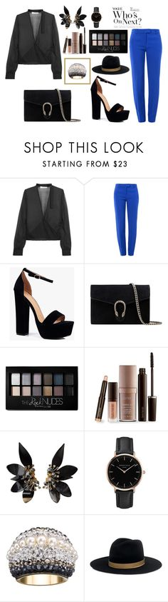 """""""Fall has Fallen"""" by ballereyna ❤ liked on Polyvore featuring IRO, Boutique Moschino, Boohoo, Gucci, Maybelline, Laura Mercier, Marni, Topshop, Swarovski and Janessa Leone"""