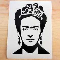 Etiqueta de vinilo de retratos de Frida Kahlo por RosaGuayabaShop