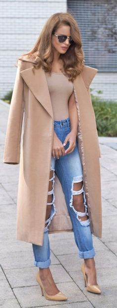 @roressclothes closet ideas #women fashion outfit #clothing style apparel Ripped Jeans and Camel Coat