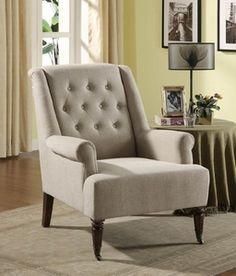Armen Living Albert Sand Linen Fabric Chair