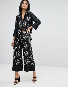 Warehouse Floral Silk Cropped Wide Leg Pants