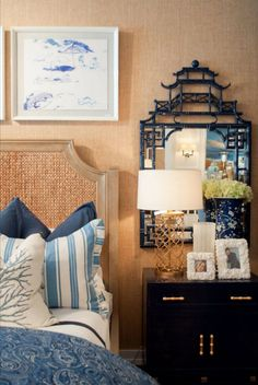by Barclay Butera for Mirror Image Home bedside mirror bedroom Home Bedroom, Home Living Room, Living Room Decor, Living Spaces, Mirror Bedroom, Bedroom Ideas, Chinoiserie Chic, Asian Decor, White Houses