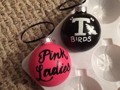 Christmas Love, Christmas Bulbs, Glass Ornaments, Grease 2, Pink Ladies, My Etsy Shop, Birds, Hand Painted, Unique Jewelry