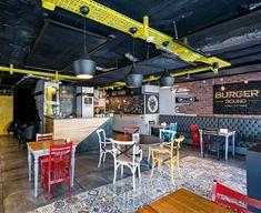 Burger Sound by Kst Architecture & Interiors, Antalya – Turkey Burger Restaurant, Restaurant Design, Restaurant Interiors, Visual Merchandising, Interior Architecture, Interior Design, Branding, Design Furniture, Store Fronts