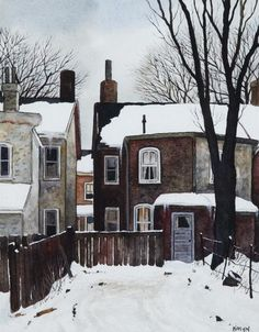 John Kasyn Back Yard on Ross St. Watercolor Landscape, Landscape Art, Landscape Paintings, Watercolor Art, Urban Landscape, Painting Snow, House Painting, Pictures To Paint, Art Pictures