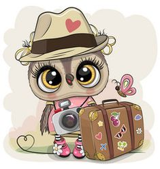 Cartoon owl in a hat with luggage vector Kids Cartoon Characters, Cartoon Pics, Cute Cartoon, Cute Baby Owl, Baby Owls, Cartoon Owl Drawing, Cute Owls Wallpaper, Owl Kids, Owl Quilts