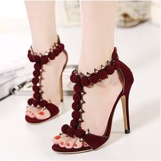 Women's Style Sandal Shoes Burgundy Stiletto Heels Open Toe Suede Ankle Strap Sandals Fall Outfits 2017 Fall Wedding Dresses Shoes Expensive Shoes with Rivets for Party, Honeymoon | FSJ #womenshoesforfall #weddingshoes #womenshoesforfall2017