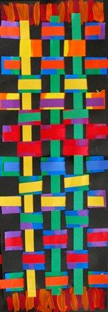 kente cloth by first grade @Carole Saysanith--we could do this for Africa