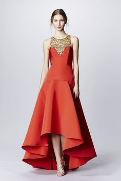 Tangerine Evening Gown with a High to Low Hemline and Gold Beaded Embellished Neckline by Marchesa Notte, Look #3