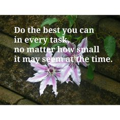 Do the best you can in every task, no matter how small it may seem at the time. #entrepreneurship #homebasedbusiness #leadership