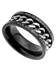 """Black Chain Ring Man Of God - Top of ring band reads, """"Man Of God: Pursue Righteousness, Godliness, Faith, Love, Perseverance And Gentleness."""" Bottom of ring band reads, """"Man Of God: Fight The Good Fight Of The Faith In Christ Jesus (1 Tim. 6:6-16)."""