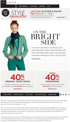 Extra 40% off at The Limited, or online via checkout promo DECEMBER coupon via The Coupons App