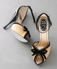 black & tan chiffon ankle strap heels from rene caovilla... drool!