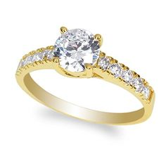 JamesJenny 10K Yellow Gold 09ct Round Clear CZ Beautiful Solitaire Ring Size 9 ** Want to know more, click on the image.(It is Amazon affiliate link) #party