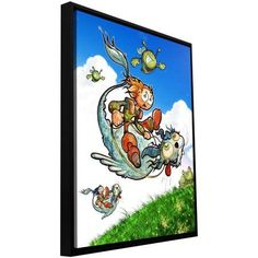 ArtWall Luis Peres Flying 1 inch Floater Framed Gallery-Wrapped Canvas, Size: 18 x 24, Blue