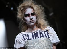 Eco-friendly: Vivienne Westwood often uses clothes to make political statements, as in this instance