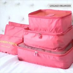Make packing and traveling stress free with our 6 piece luggage organizer set. Each set comes with 6 separate pieces (as shown in the photos)! Our organizer keeps your clean clothes, laundry, toiletries, and underwear separate and organized! Travel Packing, Travel Luggage, Travel Bags, Luggage Packing, Packing Toiletries, Packing Hacks, Travel Shoes, Travel Items, Crochet Simple