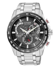 Citizen Watch, Men's Chronograph Eco-Drive Stainless Steel Bracelet 43mm AT4008-51E