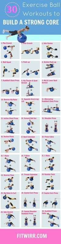 30 Exercise Ball Core Workouts. These Swiss Ball exercises are effective in improving your core strength.: