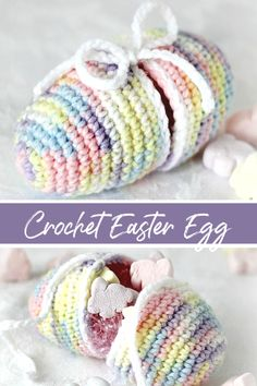 Easy pattern for Crochet Easter Egg that separates to open. Fill with a little Easter grass and tuck in candy or small toys and tie to close. Surprise children in their baskets or use in a pretty holiday centerpiece. Quick Crochet, Cute Crochet, Crochet Crafts, Crochet Toys, Crochet Projects, Crochet Ideas, Crochet Cable, Yarn Crafts, Double Crochet