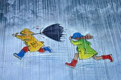 """illustration from """"Rain"""" written and illustrated by Peter Spier Wordless Picture Books, Rain Painting, Autumn Painting, Rain Art, Under My Umbrella, Dancing In The Rain, Children's Book Illustration, Book Illustrations, Disney Drawings"""