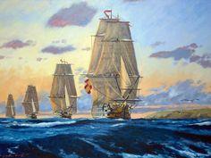 La escuadra de Gravina navegando hacia Roses, en 1795, para enfrentarse a la Francia revolucionaria, enemiga en estos momentos. El primer navío San Hermenegildo, un tres puentes que montaba 112 cañones