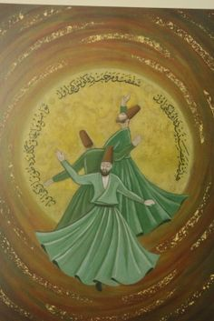 Cahide Keskiner // İstanbul' un Ustaları // Mystical Pictures, Whirling Dervish, Sufi Poetry, Islamic Art Calligraphy, Indian Paintings, Advertising Poster, Yoga, Art Drawings, Miniatures