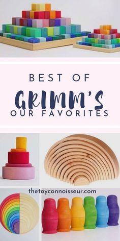 Grimm's are the quintessential icon of Waldorf toddler toy boxes. But with over 580 (!!!) options to choose from, how can you decide which Grimm's toys are best for your toddler? Click the link to see out list of absolute top favorites by age group. . . . . #waldorftoys #toddlers #alternativelearning #imaginativeplay #mumtips #parentinghelp #oneyearoldgirls #twoyearolds #threeyearolds Kids Toys For Boys, Wooden Toys For Toddlers, Wooden Baby Toys, Toddler Toys, Children Toys, Young Children, Grimm's Toys, Boy Toys, Toy Catalogs