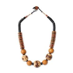 NOVICA Bauxite and Wood African Tribal Style Beaded Necklace (€39) ❤ liked on Polyvore featuring jewelry, necklaces, bauxite, beaded, wooden bead jewelry, wood necklace, african jewelry, tribal necklaces and african tribal jewelry