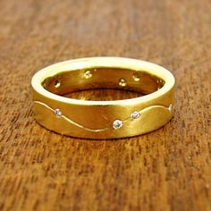 Constellation Wedding Band - Yellow Gold with Diamonds.  By Jeannie Hwang.  At Turtle Love Co.