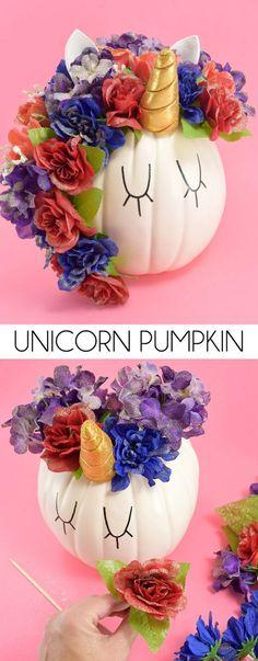 diy no carve unicorn pumpkin