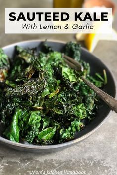 Crispy & Tender Sautéed Kale with Lemon and Garlic A quick method for cooking kale in a hot skillet with olive oil and garlic until tender with crispy patches. Finish with a pinch of chili flakes and big squeeze of lemon. Cooked Kale Recipes, Vegetable Recipes, Vegetarian Recipes, Cooking Recipes, Healthy Recipes, Veggie Food, Recipes With Kale, Chicken Recipes, Healthy Side Dishes