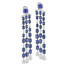 Mimi So ~ Couture Waterfall Diamond and Sapphire Earrings from the Couture Collection