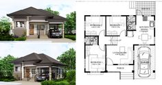 Topacio is a one story small home plan with one car garage. It consist of 3 bedrooms with the 2 bedrooms elevated further from the living room floor. Two Bedroom House Design, Modern Bungalow House Design, House Floor Design, Three Bedroom House Plan, Home Design Floor Plans, Garage House Plans, House Plans One Story, Car Garage, Small Contemporary House Plans