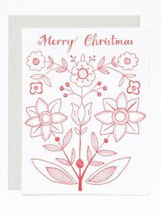 Merry Christmas letterpress card with folk illustration by Eva Jorgensen.
